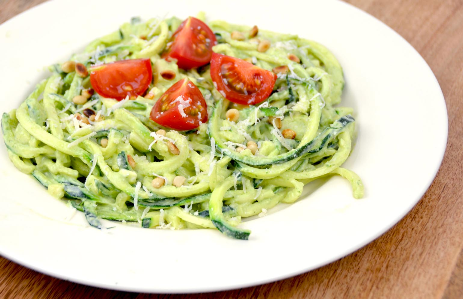 Recept courgetti pesto light