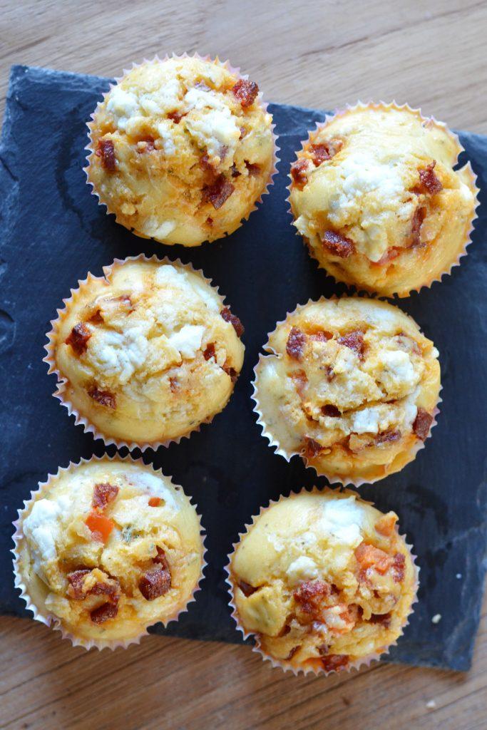 hartige muffins met chorizo en geitenkaas