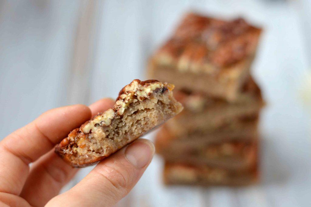 Salted maple pecan bars