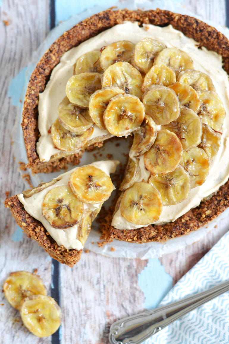 Gezonde vegan bananen roomtaart