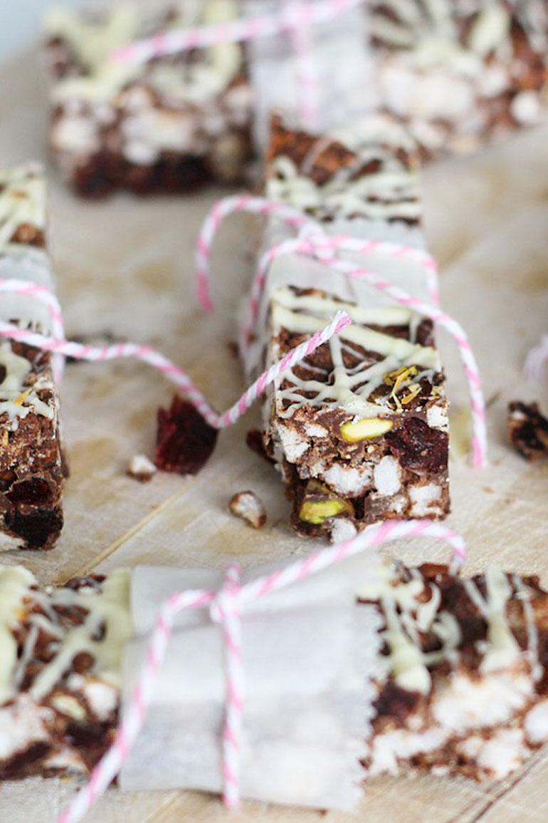 Rijstwafel repen met chocolade en pindakaas
