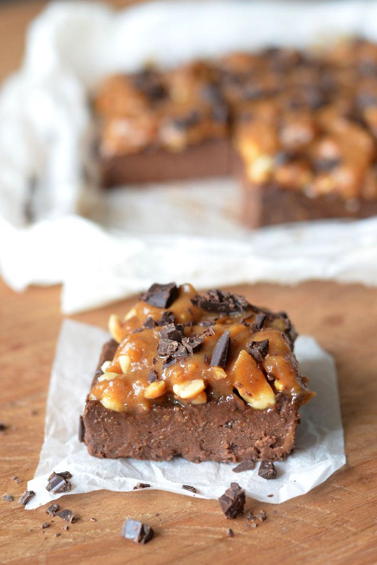 Vegan Snickers Brownie Recept