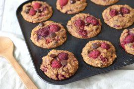 recept gezonde muffins met frambozen en chocolade