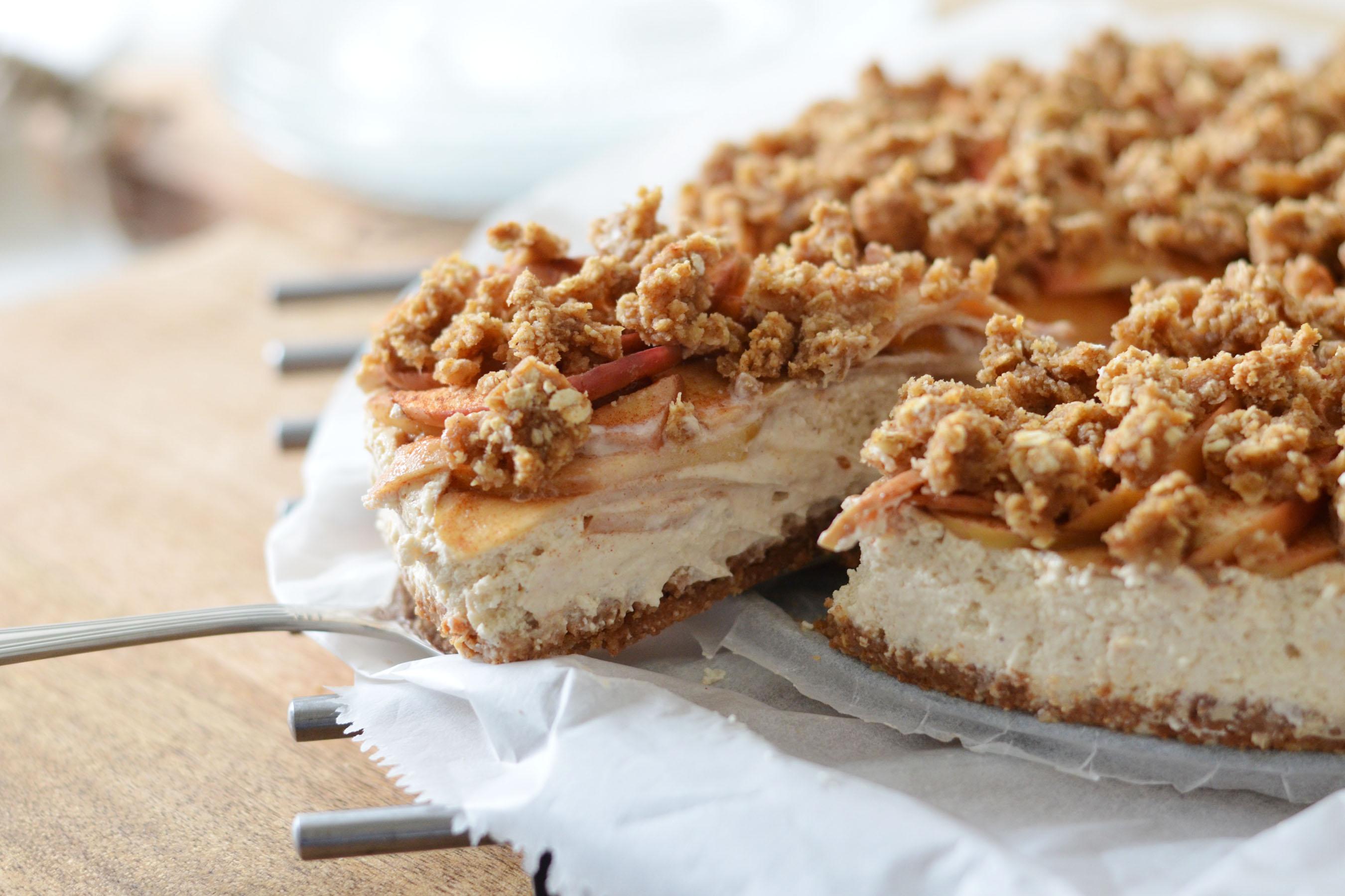 gezonde appel kruimel cheesecake