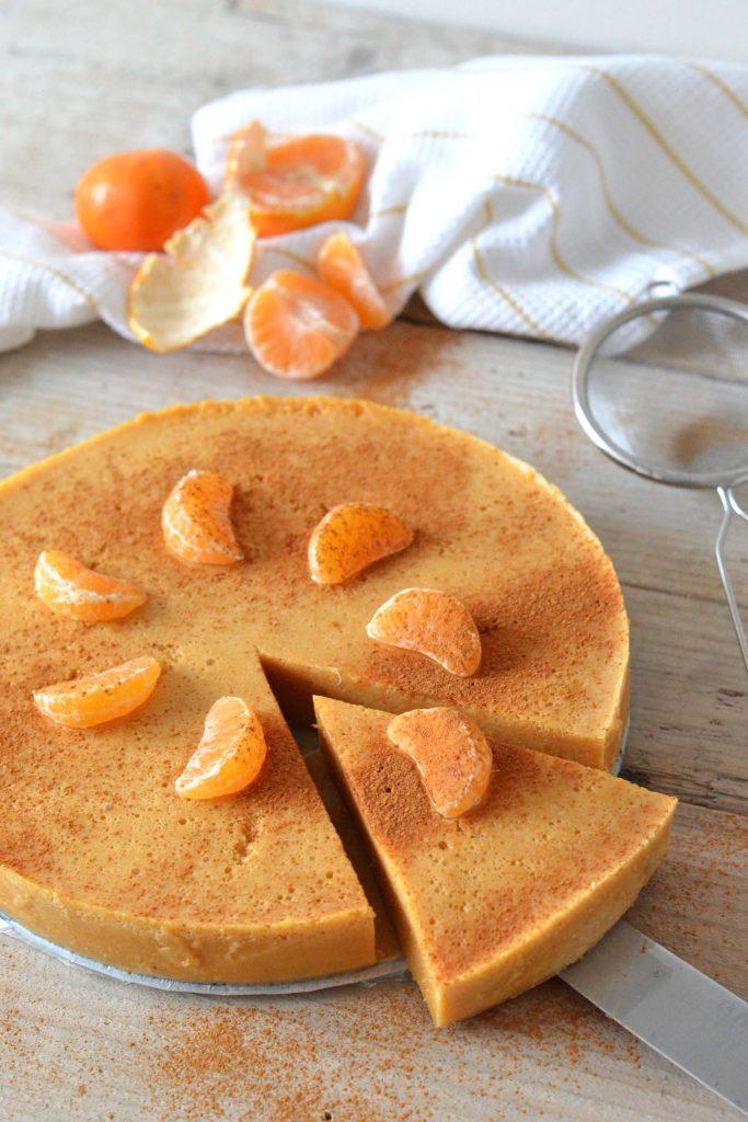 Caloriearme mandarijn pompoen pudding cheesecake