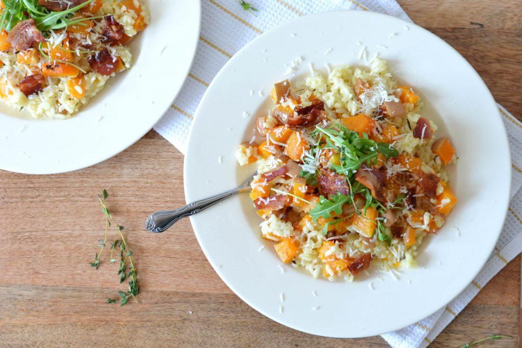 pompoenrisotto met pancetta