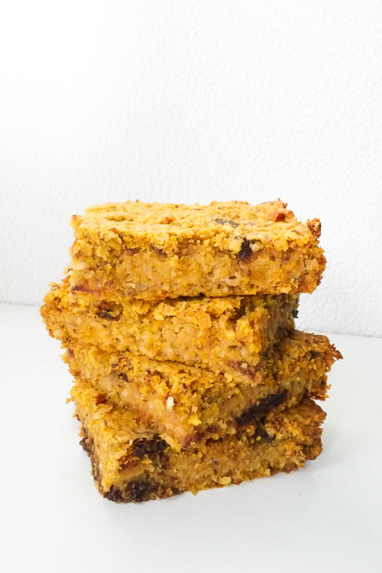 Pompoen chocolate chip blondies