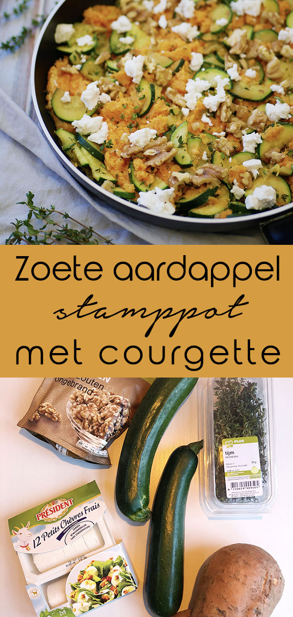 Zoete aardappel stamppot met courgette pinterest