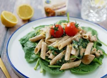 Pasta met spinazie roomsaus zonder zuivel of lactose